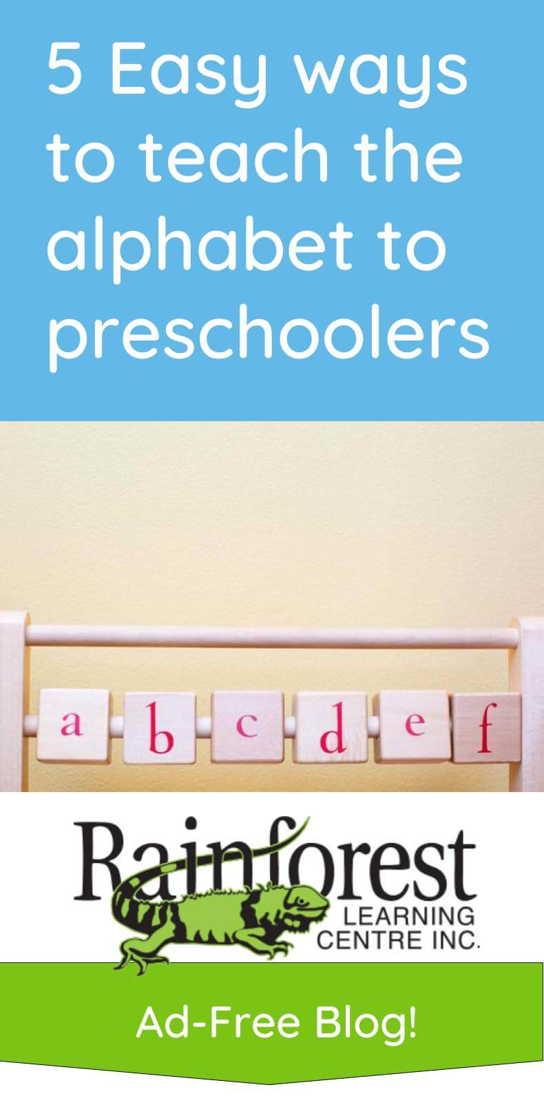 5 Easy ways to teach the alphabet to preschoolers article - pinterest image