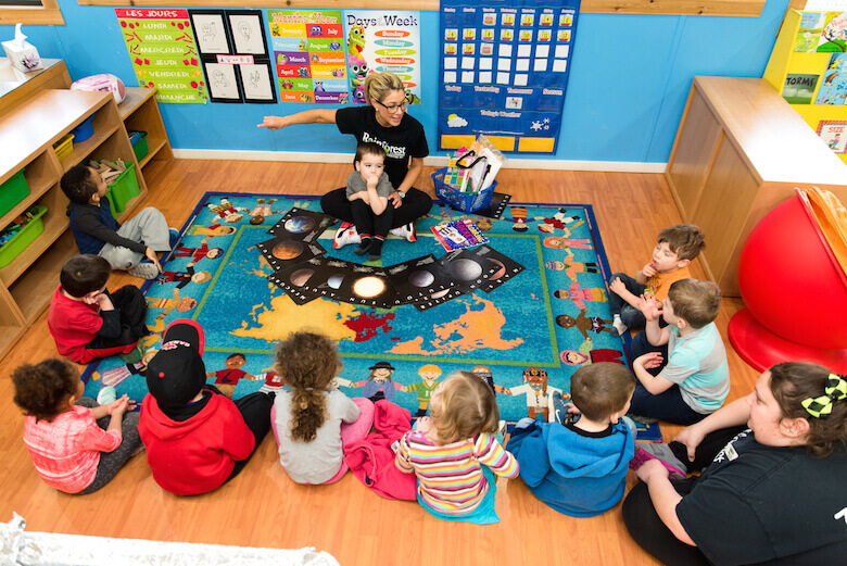 group time with teacher at daycare in langley