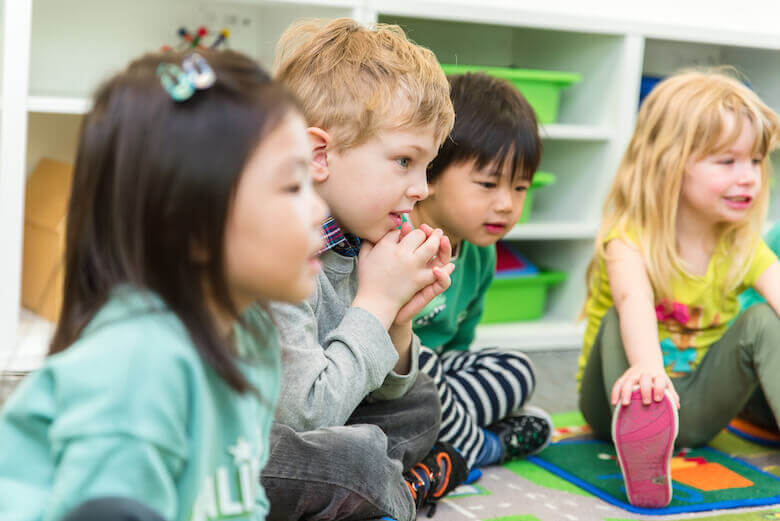 kids engaged during group time at daycare
