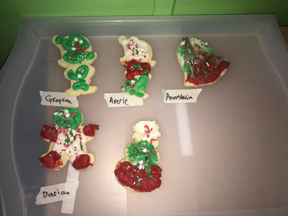 set of christmas cookies decorated at preschool