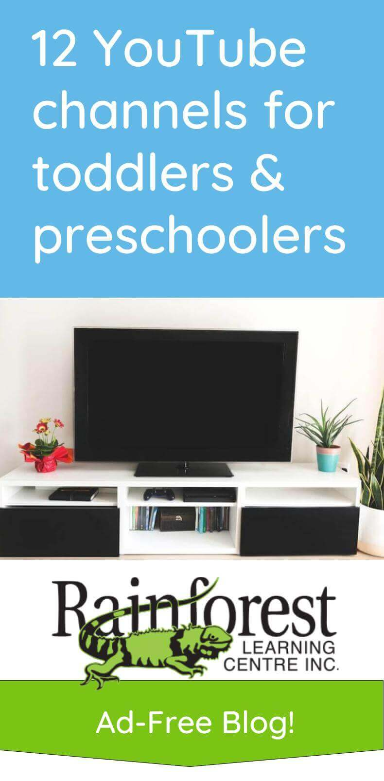 12 YouTube channels for toddlers and preschoolers article - pinterest image